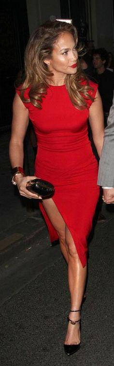 Jennifer Lopez: Dress - Hakaan Shoes - Tom Ford Hakaan Scarlet Red Sleeveless Sheath Dress Tom Ford Padlock Ankle-Strap Pump