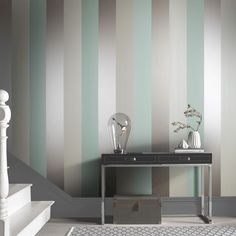 Shop contemporary wallpaper designs from Graham and Brown! Beautiful wall decor for your home! Mint Wallpaper, Silver Wallpaper, Ocean Wallpaper, Home Wallpaper, Wallpaper Designs For Walls, Striped Wallpaper Living Room, Paper Wallpaper, Wall Decor, Room Decor