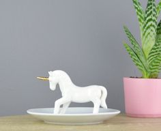 Unicorn Ring Stand Jewellery Dish by NotaJewelleryBoxLtd on Etsy