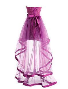 Dresstells® High Low Bridesmaid Dress Tulle Lace Homecoming Dress Prom Dress Pink Size 26W