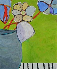 Gray-Vased Blooms. oil on linen, 24x20 inches at Hutton : Vased Flowers : Fauvist Modern Milton Avery Primitive Naive Art Abstracted Landscapes Stilllifes : JILL FINSEN PAINTINGS