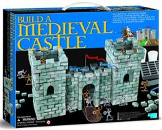 """4M  Brick n Build Medieval Castle   Our 4M Medieval Castle Building Kit has everything you need to mold hundreds of bricks and to assemble them into this 13"""" wide castle. Also includes: 10 knight figurines, working castle door, castle flag w/post, landscape mat and detailed building plan"""