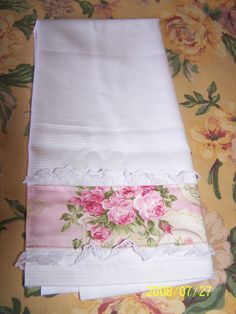 Shabby Chic Tea Towel | I just added lace and a left over fa… | Flickr