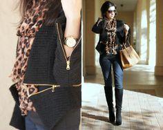 Zara Zippered Blazer, Michael Kors Gold Watch, Michael Kors Suede Boots, Prada Saffiano Bag