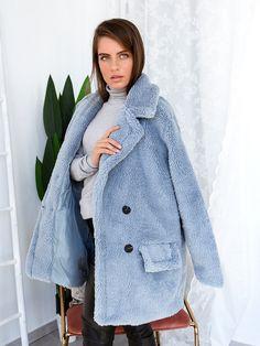 Παλτό Κοντό Με Κουμπιά Σιέλ - My Therapy Coats, Jackets, Fashion, Down Jackets, Moda, Wraps, Fashion Styles, Coat, Fashion Illustrations
