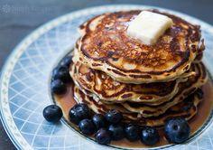 Blueberry Buttermilk Pancakes ~ Light and fluffy buttermilk pancakes loaded with…