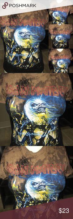 Iron Maiden custom t shirt Custom bleached acid washed iron maid rock band  shirt. Hand made one of a kind. Tag: clothes, shoes, makeup,  Cosmetics, Top, blouse, t-Shirt, accessories, tank top, dress,  eyeliner, lip gloss, panties, pink, heels, denim, Kylie Jenner, Kim Kardashian. Tops Tees - Short Sleeve