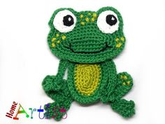 Crochet Applique Frog Prince Listing is for 1 crochet embellishment in the shape of a Frog. Frog prince The Frog prince measures about 4 in. Frog Applique Pattern, Crochet Applique Patterns Free, Crochet Motifs, Amigurumi Patterns, Crochet Stitches, Crochet Appliques, Crochet Frog, Crochet Dolls, Baby Blanket Crochet