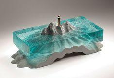 Translucent Glass Ocean Sculptures by Ben Young Concrete Sculpture, Concrete Art, Sculpture Art, Resin Crafts, Resin Art, Cut Glass, Glass Art, Making Glass, Laminated Glass