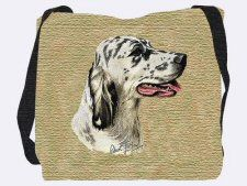 Pure Country Weavers English Setter 2 Dog Woven Blanket Cotton Made in USA Bolster Cushions, Tapestry Bag, Square Blanket, Pet Furniture, Beige Background, Dog Design, English Setters, Shoulder Bag, Pure Products