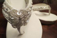 Bridal Wedge Flip Flop Ivory Crystal Flower by LaBoutiqueBride, $55.00