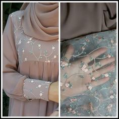 hijab jeans jeans Such a delicate fabric matched Abaya Fashion, Muslim Fashion, Fashion Dresses, Dress Outfits, Hijab Gown, Hijab Dress Party, Mode Kimono, Mode Abaya, Modele Hijab
