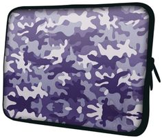 Camouflage is being unnoticed and blending in the green forest while hunting. When it comes to fashion, it's also a urban pattern. We innovate this camo in shades of purple and gray print to make a fashion statement. Lightweight and affordable. Nevertheless its neoprene construction prevents spills, bumps, weather elements while the protective cushioning that feels great in your hand. Plush padded lining keeps your notebook cozy and scratch-free. The 2-way dual zippers offer easy access and…