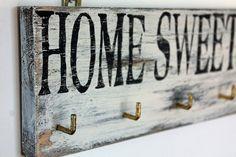 Schlüsselbrett aus Holz, Vintage, Home sweet Home