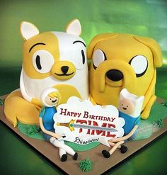 Adventure Time Cake with Fiona, Cat, Finn and Jake