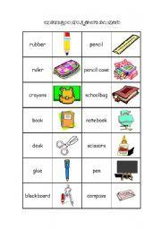 English worksheet: Classroom objects domino