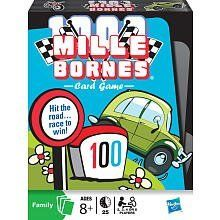 Mille Bornes Card Game by Hasbro. $7.65. From the Manufacturer                Hit the road and race to win.  Be the first player to travel 1000 miles to win this classic family favorite!  Play distance cards and speed towards the finish line, or put the brakes on your opponent with nasty hazards!  Drive Carefully!  They'll be playing hazards on you too.. Out of Gas? Lucky you've got a Gasoline card! Accident? You'll need Repairs! Put your foot down.. It's time to play...
