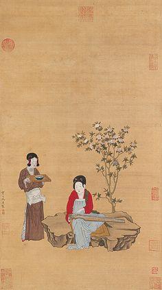 Qiu Ying (仇英) , 绢本仕女图