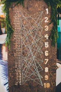 Rustic Guest seating chart - Pre-Wedding Game: Follow the string to find their seat! Less expensive then buying individual place card novelties - easier on the eyes!
