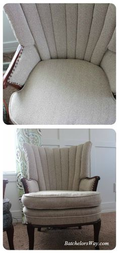 Recovering channel back chairs.  Batchelors Way: DIY Upholstery- Covering the Chairs Part 2- Better know as how to fix a Crappy Cushion!!