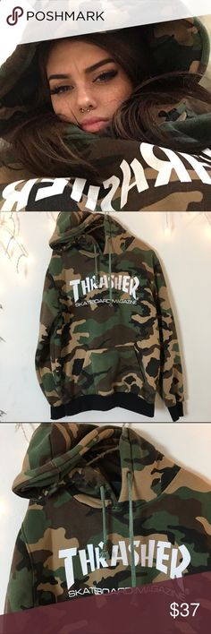 SOLD Authentic thrasher hoodie. Sold out. Super Duper soft inside fleece material Best for womens small or medium oversized fit as seen on Sahar Luna Sahar Assaf.luna on Instagram. In great condition colors are slightly faded but white graphic logo is in perfect condition. Brandy Melville Tops Sweatshirts  Hoodies