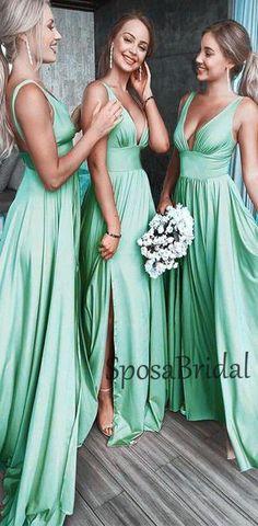 2019 A-line Cheap Sexy V Neck Colorful Long Modest Elegant Bridesmaid Dresses, Straps Prom Dresses, Elegant Bridesmaid Dresses, Modest Dresses, Simple Dresses, Cheap Dresses, Maxi Dresses, Bridesmaids, Modest Clothing, Event Dresses