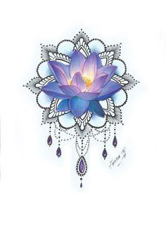 tattoo tatouage fleur lotus couleur bleu mandala