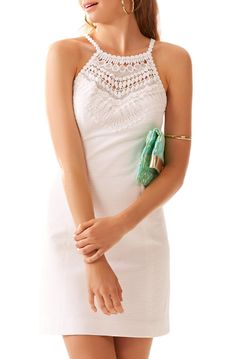 Lilly Pulitzer Pearl Lace Neck Shift Dress in Resort White \\   Saved by Chrissy Kapp Blair Pinterest.com