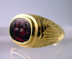 Gold Ring with a Roman Carnelian Intaglio Depicting a Biga Drawn by Birds 100-300 A.D.