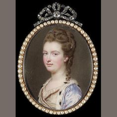 John Smart (Norwich 1742/3 - London 1811) A Peeress, wearing ermine-trimmed mauve satin robe over white dress, a jewelled clip and strand of pearls in her brown hair, upswept and with a curl falling over her left shoulder  signed on obverse with initials and dated JS/ 1775. Colonial Art, Mourning Jewelry, 18th Century Fashion, Small Paintings, Mauve, Female Portrait, Brin, Brown Hair, Portrait Paintings