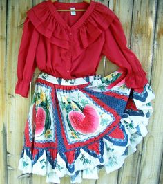 Square Dance Blouse and Skirt Set Vintage by papercherries on Etsy, $50.00
