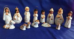 Vintage 14 Piece Painted Clay Mexico Pottery Blue and Gold Gilt Miniature Nativity Set Scene Figurines Holiday Christmas Decor by yourmamashouse on Etsy