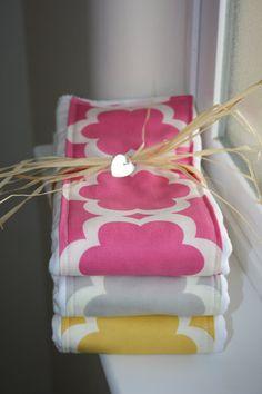 Baby Burp Cloths  Set of 3  Taza Tarika in by modernmadebaby, $16.95