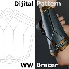 DIY Wonder Woman Pattern Bracers! You can make it! Bracers ( long is almost 10 inch) This PDF file contains 6 sheets. A4 2 sheets - this is ready to print bracers. In the other sheets I added my advice and photos. Perhaps it will help you in the manufacture of your bracers. I make my bracers the only this way  see full wonder woman cosplay costume here! https://www.etsy.com/listing/545100415/  bracers EVA FOAM. you can buy https://www.etsy.com/listing&#...