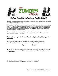 fantasy jr fun quiz score card for would you survive a zombie apocalypse education. Black Bedroom Furniture Sets. Home Design Ideas