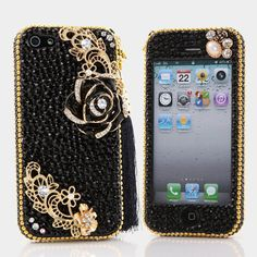 iPhone 5 4/4S - Samsung Galaxy S3 S4 Note2 -Handcrafted Case Cover 3D Luxury Bling Crystal Sparkle Diamond Black Rose Royal Gold Design_718 on Etsy, $67.95 this is SOO cute if you love deco cases