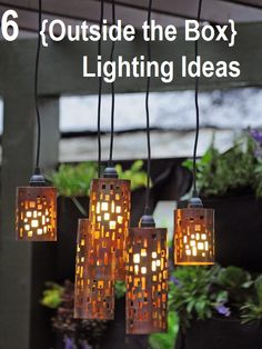 """Pendant Light Shades made from candle holders and a pendant light kit. DIY inspiration from HGTV """"Set the Mood With Outdoor Lighting"""" post. Backyard Lighting, Outdoor Lighting, Lighting Ideas, Outdoor Lamps, Outdoor Shade, Unique Lighting, Fun Backyard, Exterior Lighting, Diy Pendant Light"""