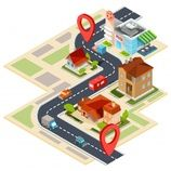Buy Vector Illustration of the Navigation Map with Gps by vectorpocket on GraphicRiver. Vector illustration of the navigation map with gps icons. Image of a paper map with red pin pointers, houses, cars. Vector Graphics, Vector Free, City Vector, Vector Vector, Design Isométrico, Arrow Illustration, Free Vector Illustration, Icon Png, Crafts