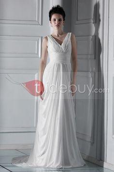 Vネック帝国床まで届く長さセレブウェディングドレス