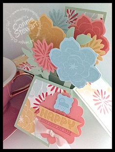 """5 ½"""" x 4 ¼"""" Pop-Up Box Card - www.SimplySimpleStamping.com - created by Connie Stewart"""