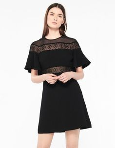 Lace Dress And Cape-Effect Sleeves - Summer Collection - Sandro Paris Chic Dress, Lace Dress, Dress Up, Sandro Paris, Costume, Sheer Fabrics, Mannequin, Summer Collection, Tankini