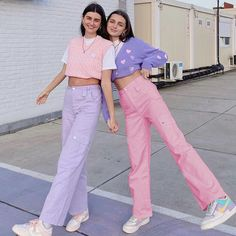 Pink Jeans Outfit, Baggy Pants Outfit, Colored Jeans Outfits, Pink Outfits, Cool Outfits, Vest Outfits, Hijab Outfit, Matching Outfits Best Friend, Bratz