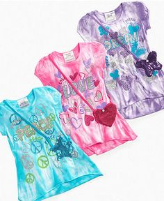 4-6x tie dye tops with sequins purse