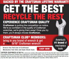 FREE Craftsman Wrench (With Exchange) http://sendmesamples.com/free-craftsman-wrench-with-exchange/