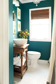 We used this color in our dining room... now I want it in the bathroom!