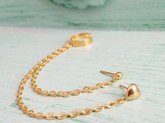 Gold Heart Double Pierce Ear Cuff SingleSide by oflovelythings, $9.15