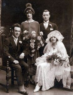 1926 Wedding Photo of Lucia Fusco to Edward Dunn Maher.looks like the bride had a few too many champagne glasses full.or she just wasn't sure how that thing was supposed to sit on her head. 1920s Wedding, Wedding Bride, Wedding Day, Wedding Gowns, Lesbian Wedding, Wedding Menu, Chic Vintage Brides, Vintage Bridal, Vintage Weddings