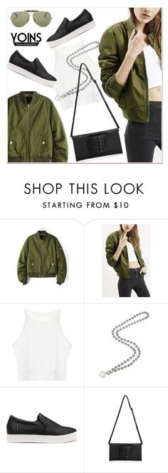 """""""green bomber jacket"""" by paculi ❤ liked on Polyvore featuring Ray-Ban, women's clothing, women, female, woman, misses and juniors"""