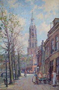 Gezicht op Nieuwe kerk te Delft, H. Schaap (Delft 1878-1955 Rotterdam),
