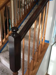 I finally tackled those outdated ugly orange oak stair banisters! What a difference it makes, right? It really is very easy to do, and it. Painted Stair Railings, Stair Banister, Painted Staircases, Painted Stairs, Banisters, Spiral Staircases, Staining Stairs, Stained Staircase, Banister Remodel
